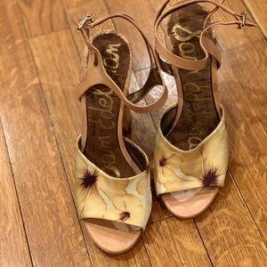 Sam Edelman yellow floral satin heeled sandals 7M